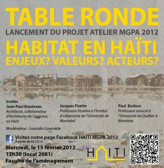 Table ronde: Habitat en Haïti. Enjeux? Valeurs? Acteurs?