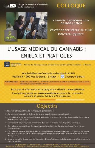1er Colloque du GRUM - L'usage médical du cannabis : enjeux et pratiques