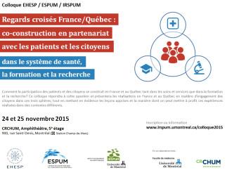 1er colloque France/Québec consacré au patient partenaire