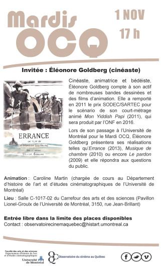 Mardi de l'OCQ: Éléonore Goldberg