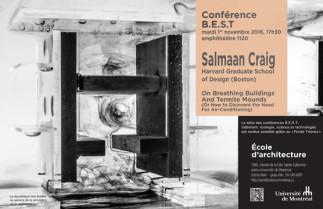 Conférence BEST (bâtiment, écologie, science et technologie) avec Salmaan Craig