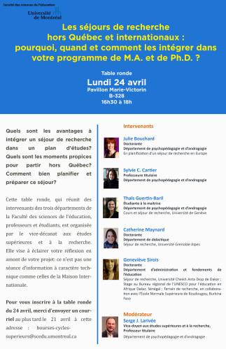 Table ronde 'Les séjours de recherche hors Québec et internationaux'