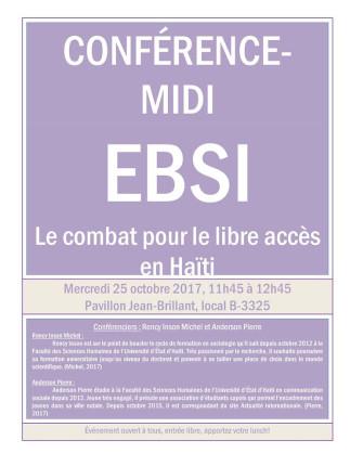 EBSI - Conférence midi : Le combat pour le libre accès en Haïti