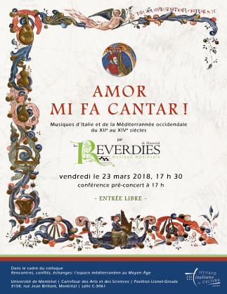 Concert : Amor mi fa cantar! Musiques d'Italie et de la Méditerranée du XIIe au XIVe siècle