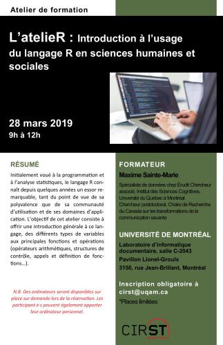 EBSI - Atelier de formation - L'atelieR : Introduction à l'usage du langage R en sciences humaines et sociales