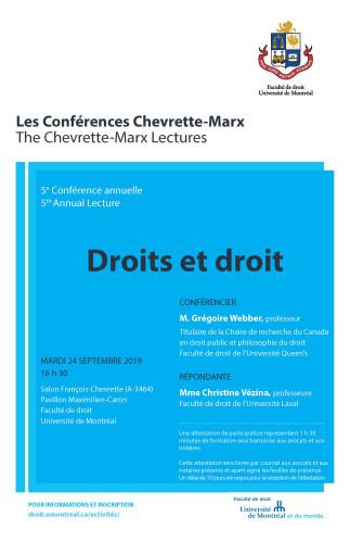 « Droits et droit » - 5e Conférence annuelle Chevrette-Marx