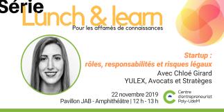 Lunch & learn | Startup : rôles, responsabilités et risques légaux