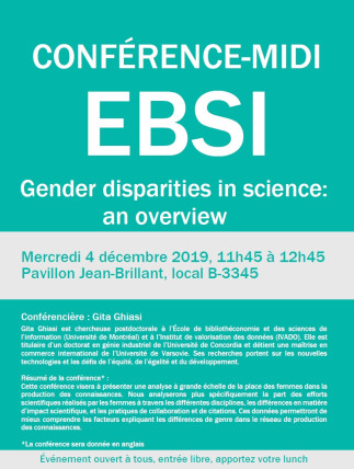 Conférence-midi à l'EBSI- Gender disparities in science: an overview