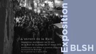 L'envers de la Nuit :  les 50 ans de la Nuit de la poésie du 27 mars 1970 — Exposition à la Bibliothèque des lettres et sciences humaines