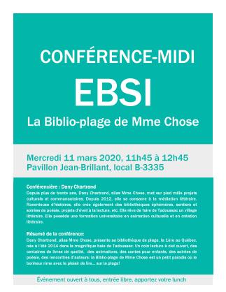 Conférence-midi à l'EBSI- La Biblio-plage de Mme Chose