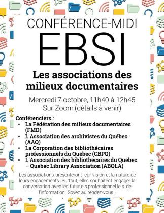 Conférence-midi à l'EBSI- Les associations des milieux documentaires