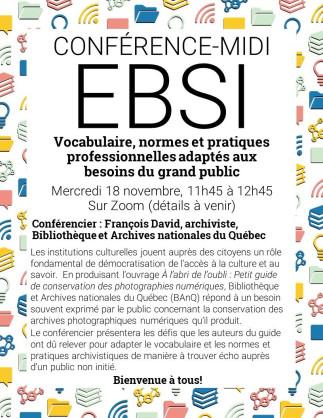 Conférence-midi à l'EBSI- Vocabulaire, normes et pratiques professionnelles adaptés aux besoins du grand public